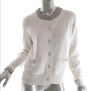 CHANEL Ivory 100% Cashmere Enamel Button Cardigan